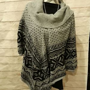 Grey and black Poncho with a cowl neck